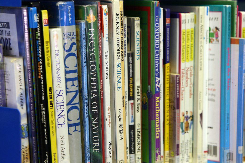 books, shelf, organized